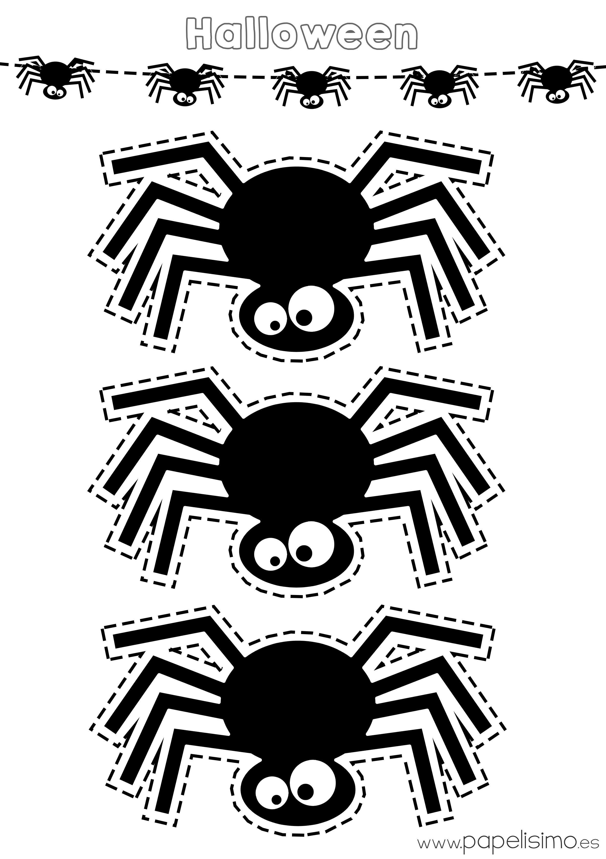 Plantilla Arana Halloween Imprimir Y Recortar Desenhos Do Dia Das Bruxas Coisas De Halloween Halloween