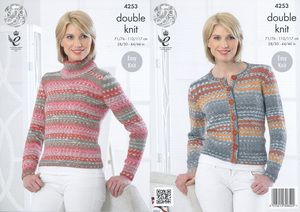afbf444d8 King Cole Double Knitting Pattern - Ladies Polo Neck Sweater   Cardigan  (4253) - Mill Outlets