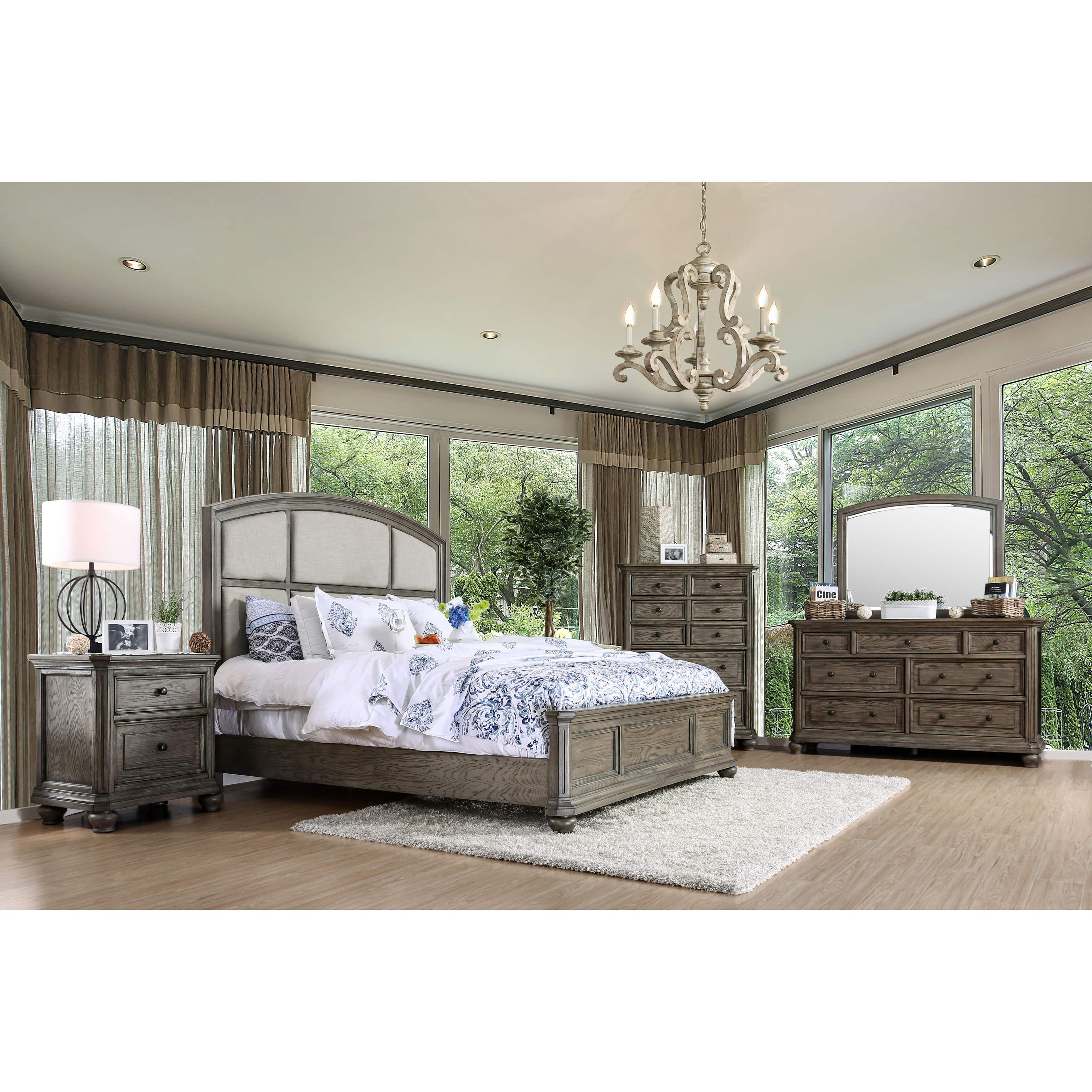 Furniture of america fenemi rustic piece wirebrushed grey bedroom