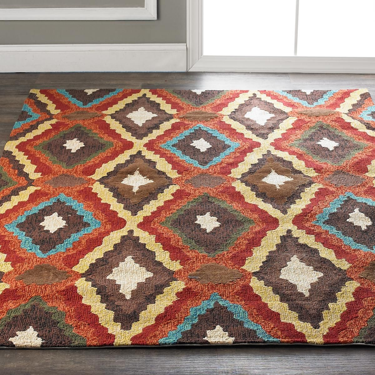 Southwest Ikat Diamonds Indoor Outdoor Rug With All The Vibrant Interesting Southwestern Bathroom Rugs Decorating Design