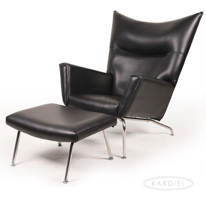 Hans J Wegner Style Wing Chair U0026 Ottoman, Black Premium