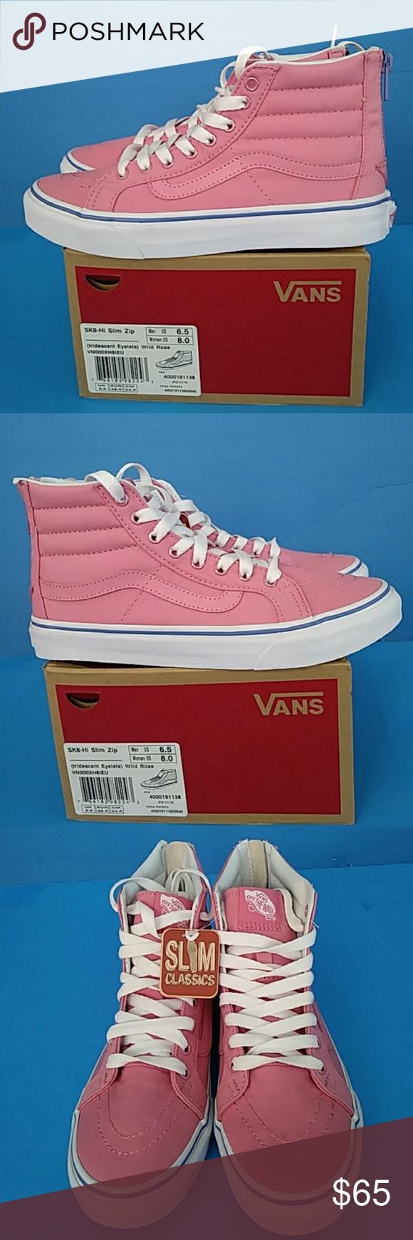 90423f62b7f SK8-HI SLIM ZIP (IRIDESCENT EYELET ) WILD ROSE UNISEX SIZE   MEN S   6.5.  WMN   8 REASONABLE OFFER IS WELCOME VANS Shoes Sneakers