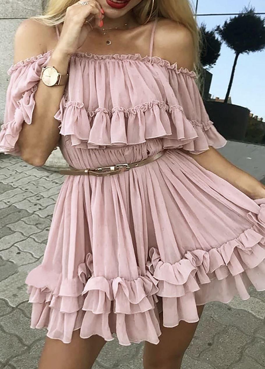 Juberry Boho Romantic Vintage Ruffle Off The Shoulder Baby Doll Chiffon Mini Dress Chiffon Summer Dress Chiffon Ruffle Dress Chiffon Mini Dress [ 1267 x 910 Pixel ]