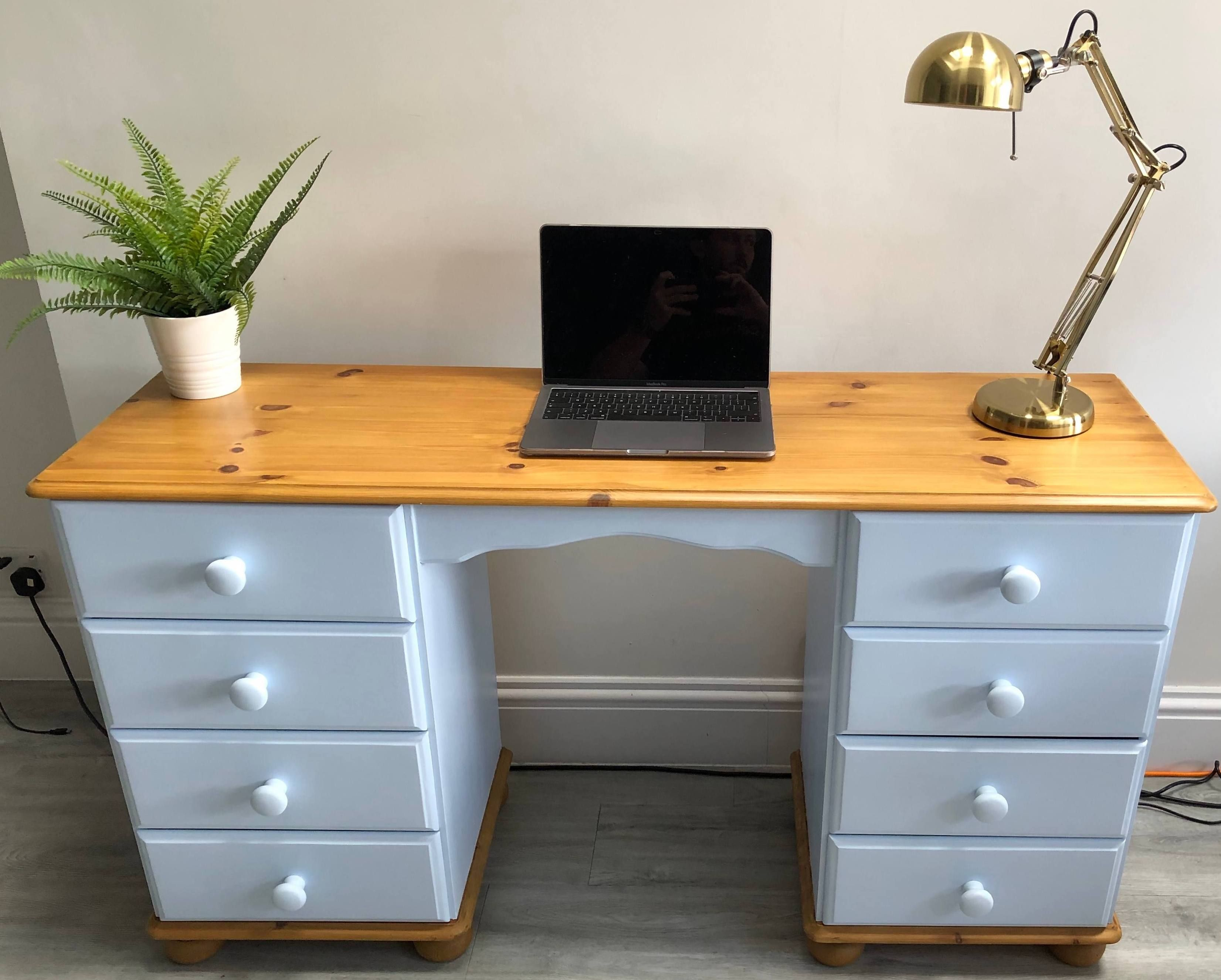 Soldhand Painted Eight Drawer Upcycled Pine Desk Country Etsy Pine Desk Pine Furniture Makeover Desk