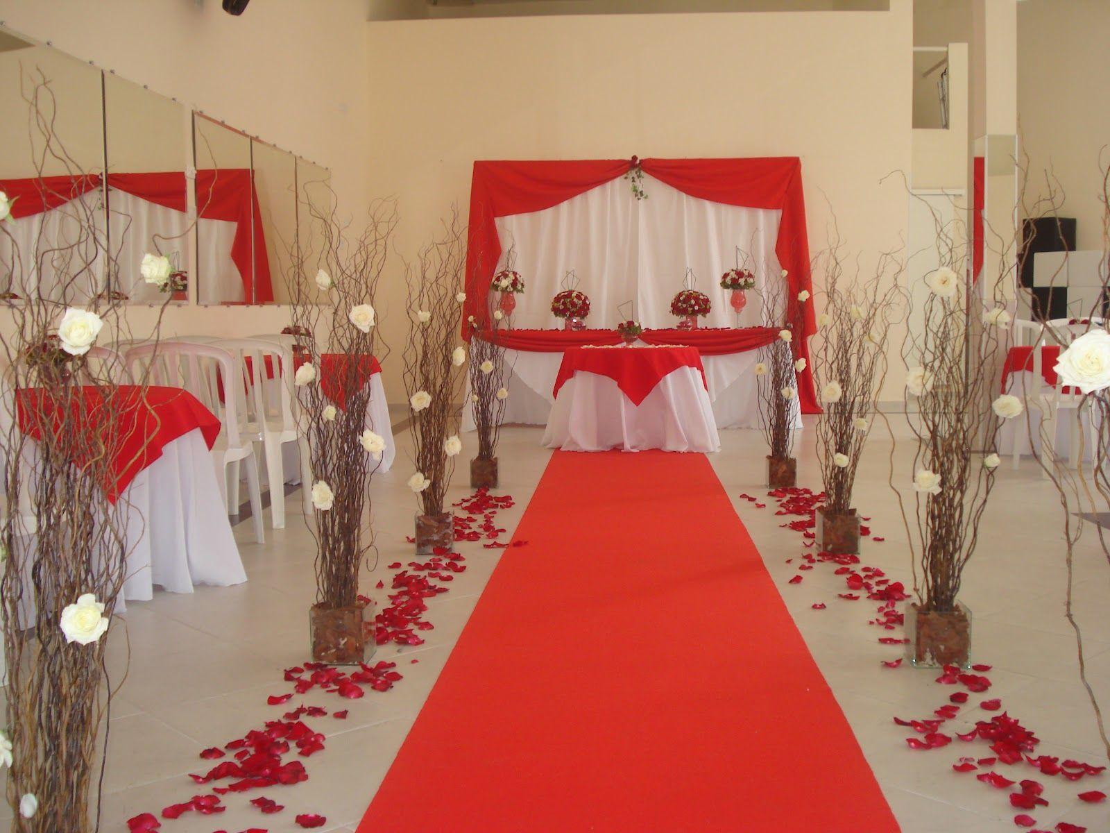 Resultado de imagem para decoraç u00e3o de casamento simples e barato branco e vermelho casamento  -> Decoração De Casamento Simples Com Tnt Vermelho E Branco