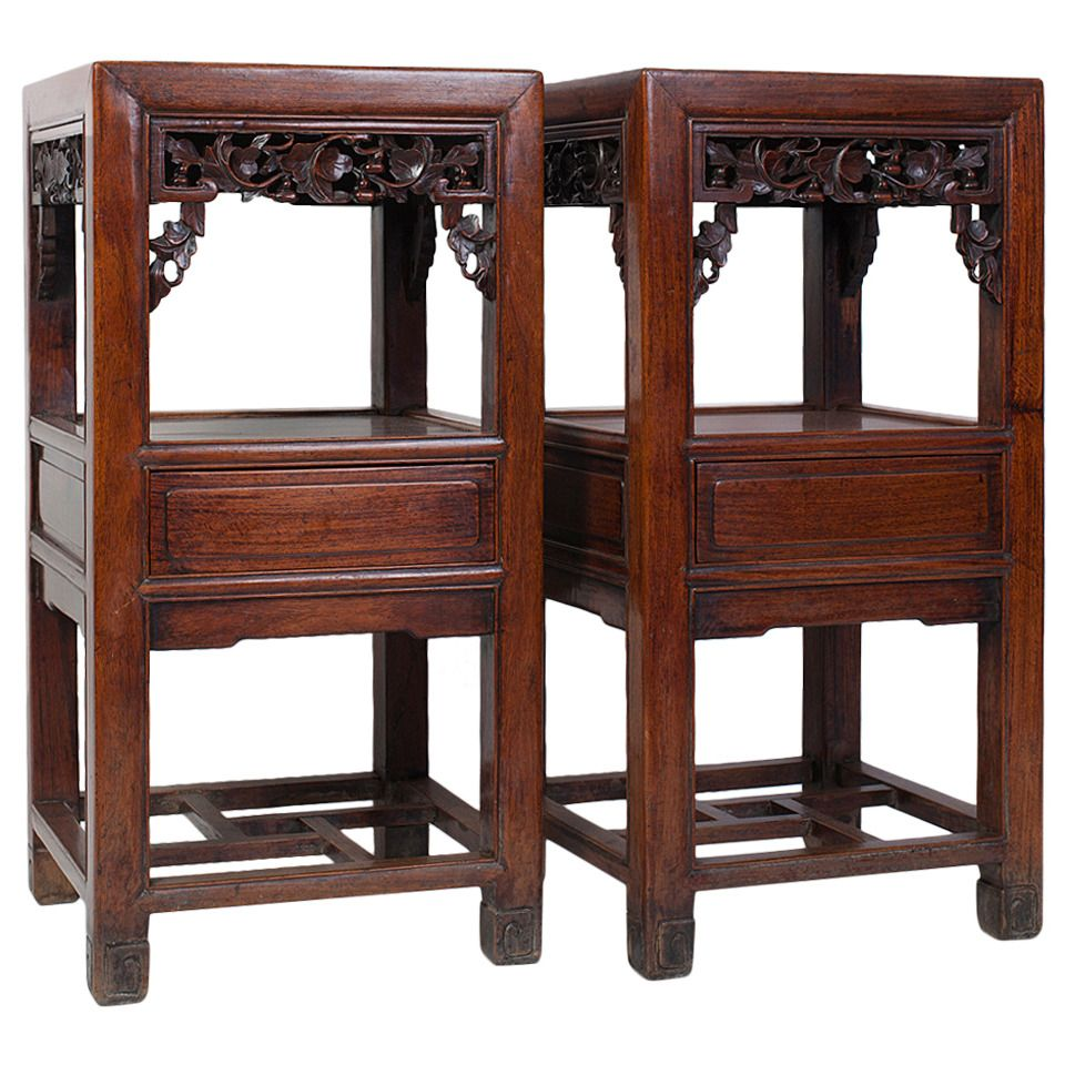 Pair Of Elegant Antique Chinese Rosewood Side Tables From A