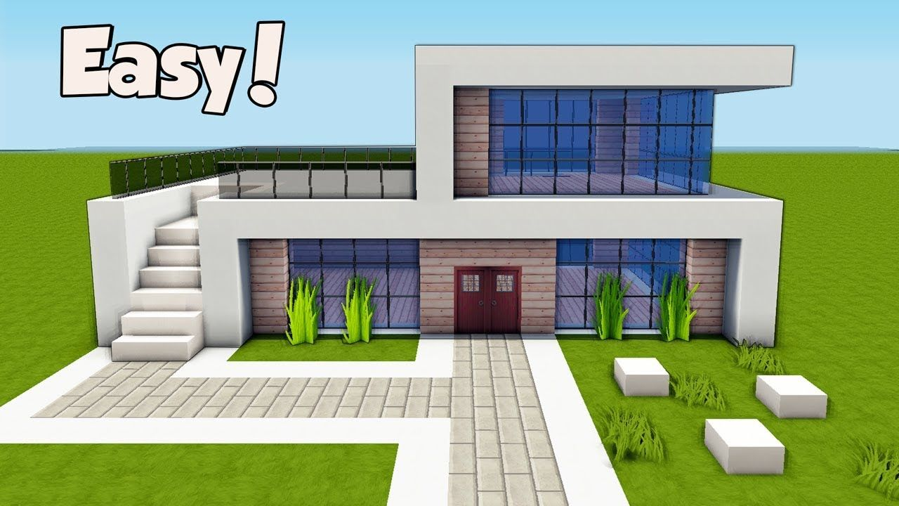 Minecraft How To Build A Small Easy Modern House Tutorial 25 Modern Minecraft Houses Minecraft House Tutorials Minecraft Modern