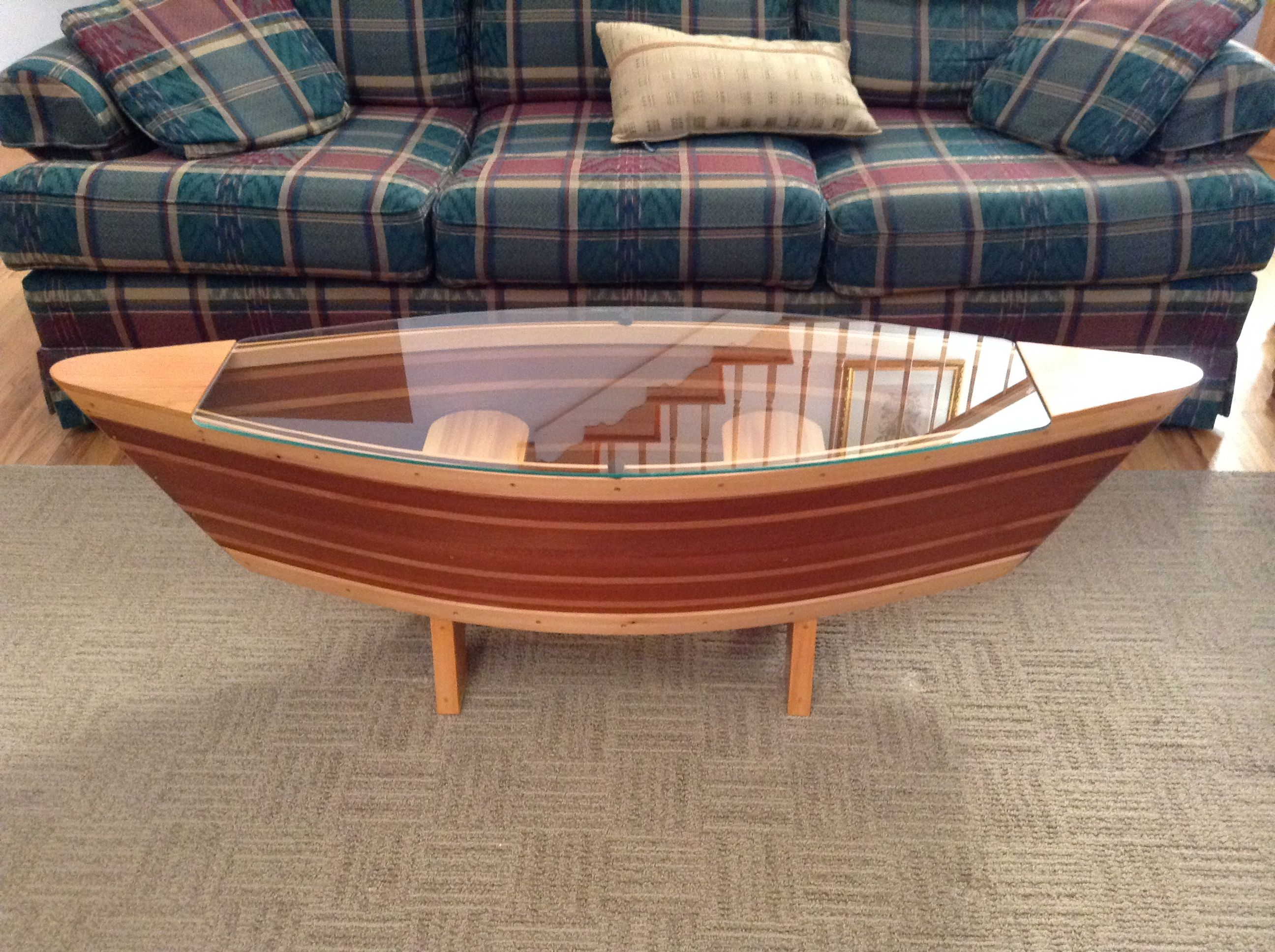 Canoe Coffee Table Boat Shelf 5ft Shaped Sofa Solid Redwood And Cherry Cabin Décor Lake House 460 00