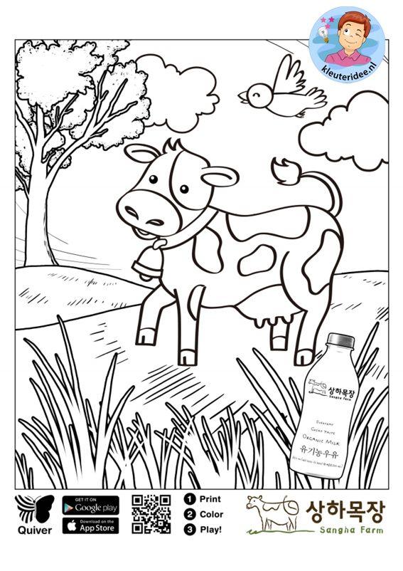 interactieve kleurplaat koe voor kleuters kleuteridee nl