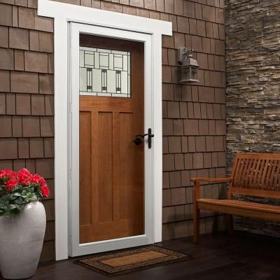 Andersen 36 In X 84 In 3000 Series White Right Hand Fullview Easy Install Aluminum Storm Door With Oil Rubbed Bronze Hardware 3ftoezr36wh The Home Depot Andersen Storm Doors Glass Storm Doors Full