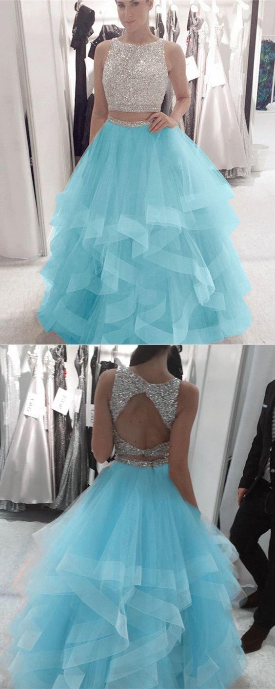 baby blue organza ruffles ball gowns prom dresses two piece with ...