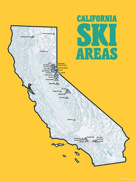 California Ski Resorts Map 18x24 Poster Artsy Fartsy California
