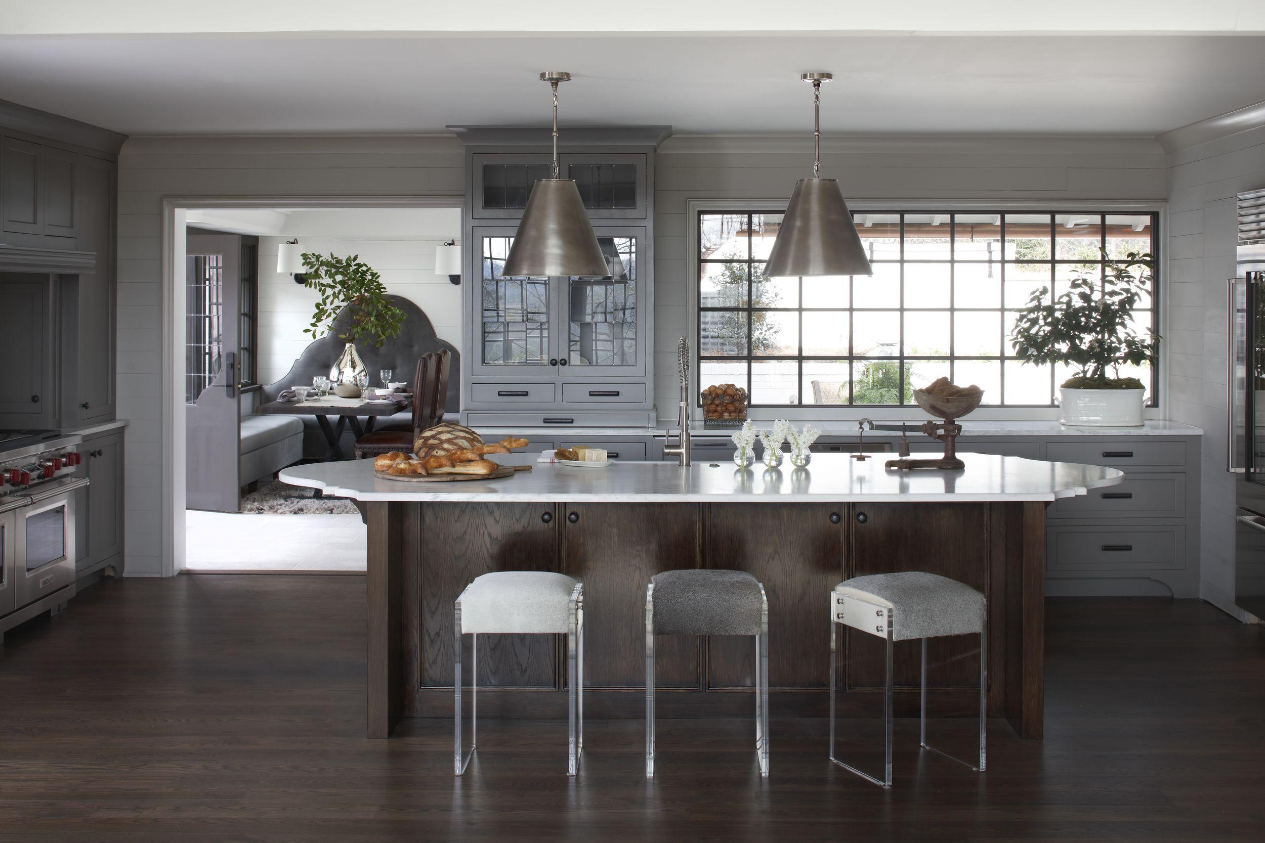 Dark Timber, Grey Kitchen, Transitional Interiors