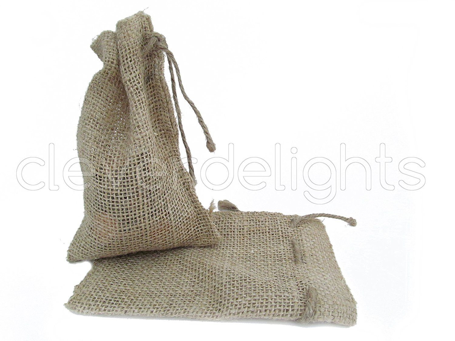 CleverDelights 4\' x 6\' Burlap Bags with Natural Jute Drawstring - 25 ...