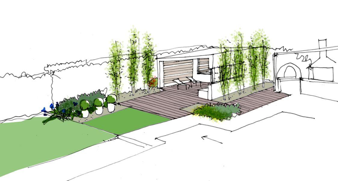 Dibujo del proyecto de dise o de jardin con pabell n by la for Planos de jardines