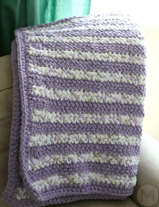 Beginner Crochet Stripes Baby Blanket With Border Tutorial Crochet