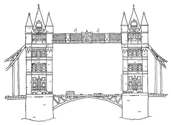 Colouring page of Tower Bridge London by