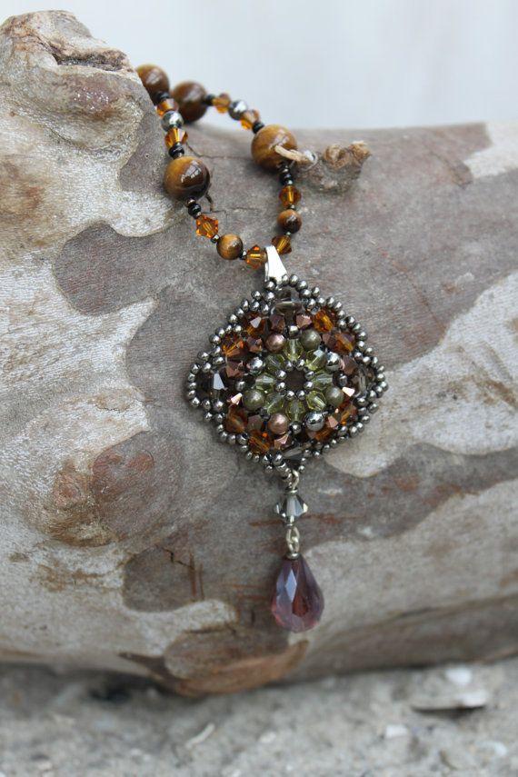 Tiger eye Necklace with Swarovski Crystal Beadwork Pendant.