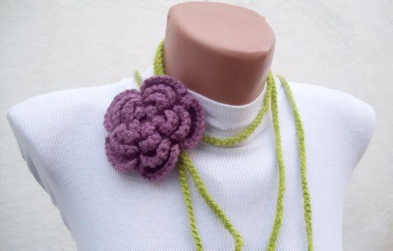 Hand crochet Lariat Scarf Green Lilac Purple Flower by nurlu