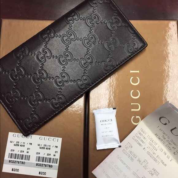 Auth Gucci Guccissima Checkbook Wallet W Receipt Dark Brown - Free catering invoice template gucci outlet store online