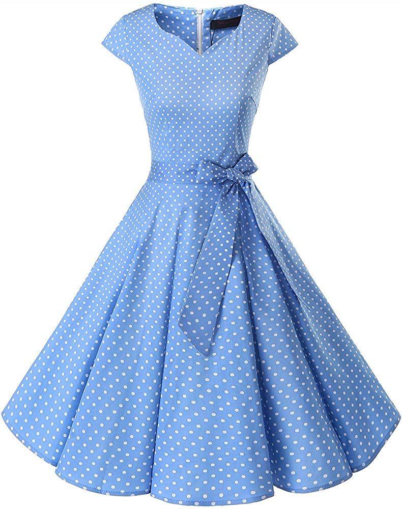 Dresstells Retro 1950s Solid Color Cocktail Dresses Vintage Swing Dress With Cap Sleeves Blue Small White Dot M Dresses For Teens Vintage Tea Dress Tea Dress [ 1000 x 790 Pixel ]