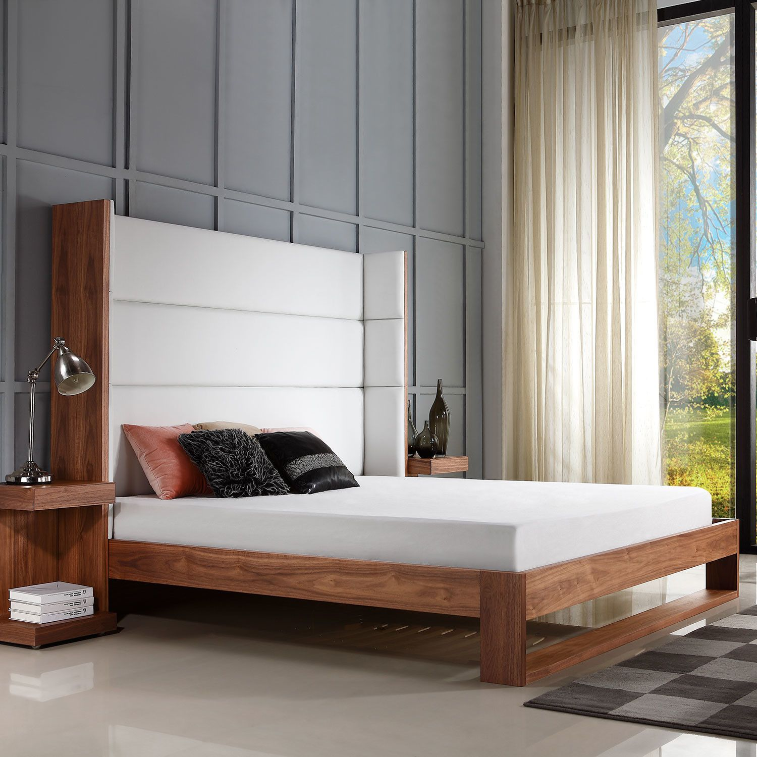 Lyon Collection // King Bed // Walnut Veneer Leather