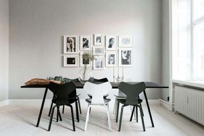 decoracion salon, comedor minimalista en blanco y negro, mesa ...