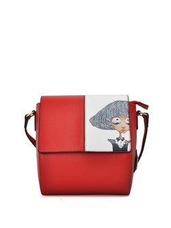 Cartoon Printed Zipper Color-block PU Crossbody Bag