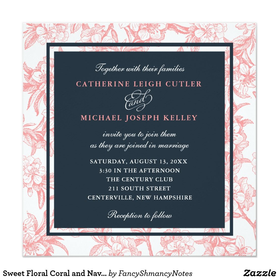 Sweet Floral Coral And Navy Wedding Invitation Navy Weddings