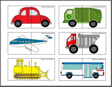 transportation puzzle cards for preschoolers transportation transportation theme and activities. Black Bedroom Furniture Sets. Home Design Ideas