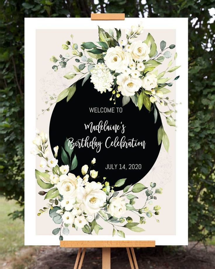 Photo of White Floral Birthday Welcome Sign