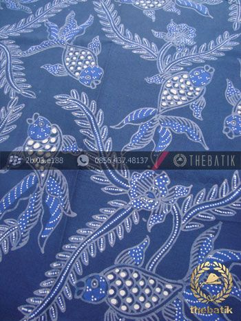Jual Kain Batik Tulis Motif Ikan Mas Warna Biru 5086b60a16