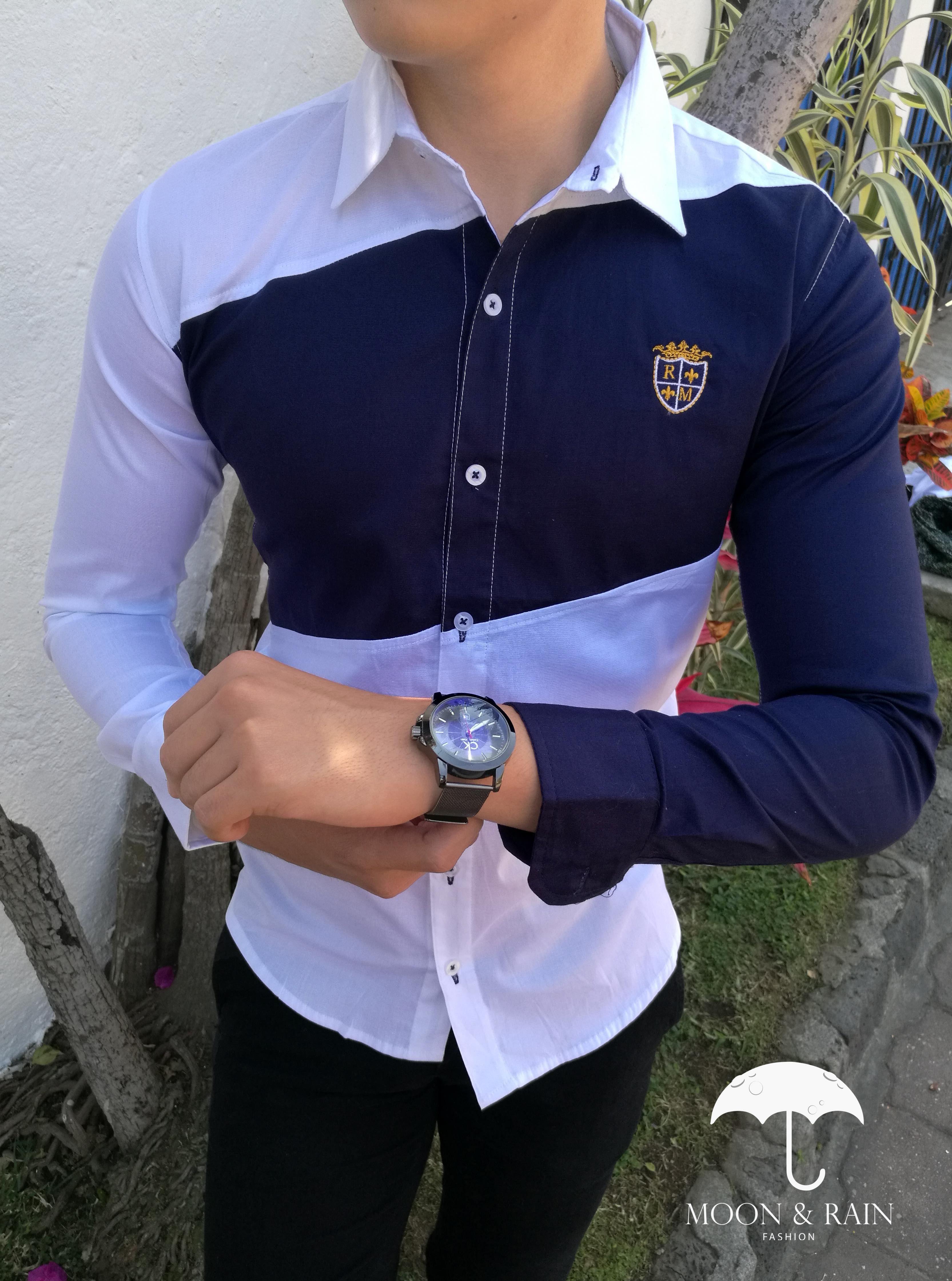 a7ad06d8938f7 Camisa Slim Fit Premium Blanca con Franja y Manga Marino exclusiva de Moon    Rain