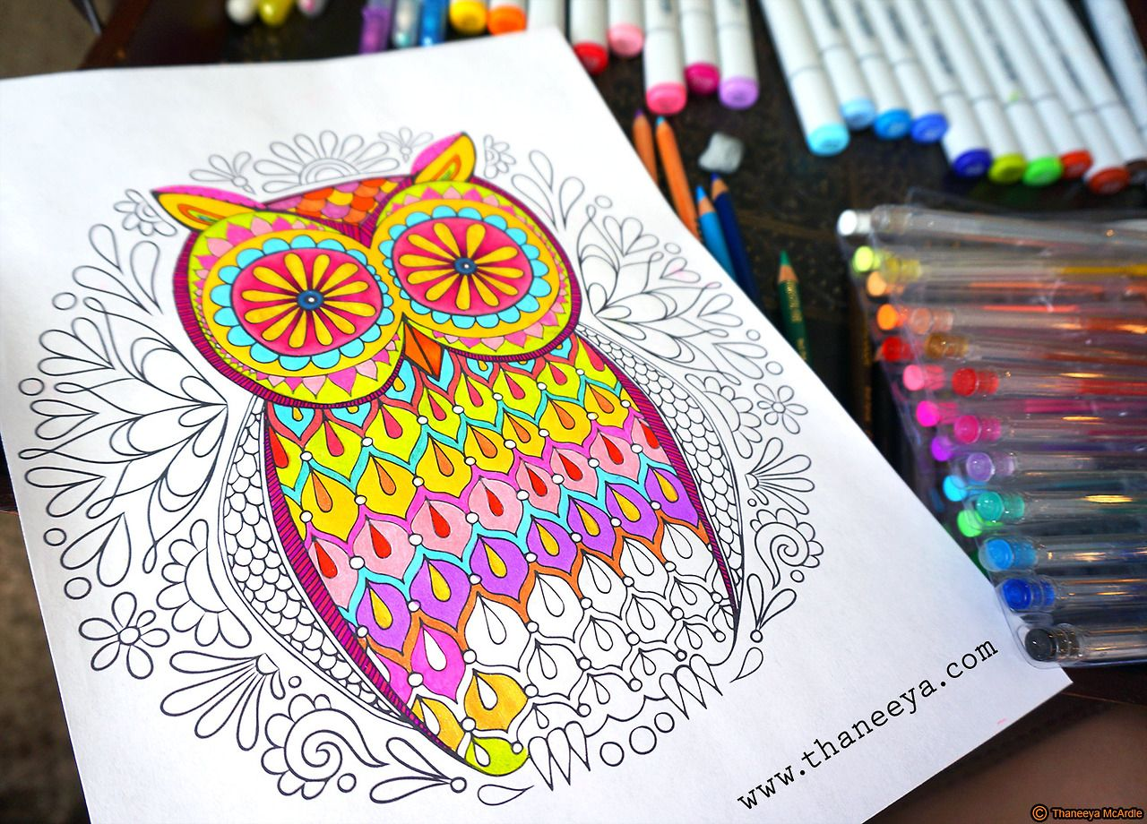 Im Coloring This Owl Using Copic Markers Prismacolor Colored Pencils Sakura Gel PagesAdult