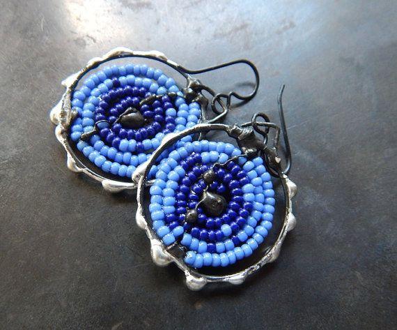 Blue spiral beaded earrings by DiPiazzaMetalworks