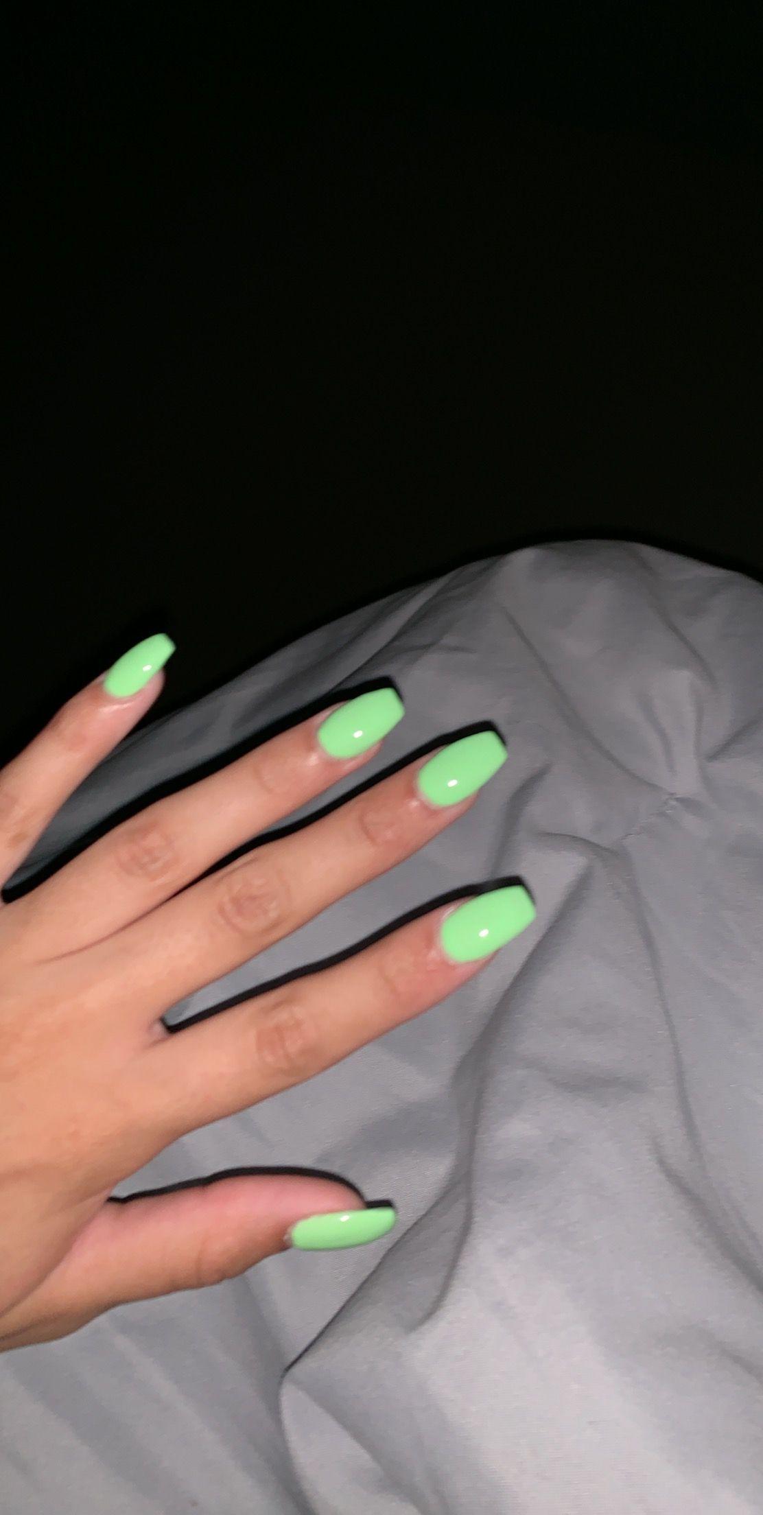 Nails Aesthetic acrylic nails (2020) Neon green nails