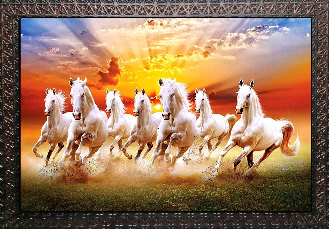 Pari Arts Beautiful Wall Painting Vastu Running Horses Art Special Effects Sparkle Laminati In 2021 White Horse Painting Seven Horses Painting Horse Canvas Painting