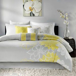 Contemporary Bedding Sets King Comforter Set Yellow Floral