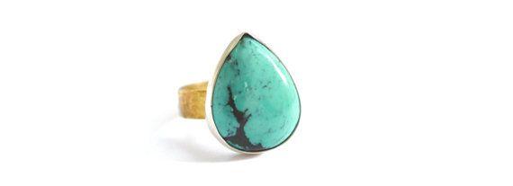 Handmade Stunning Turquoise Ring, Sterling Silver Bezel, Brass Ring Shank