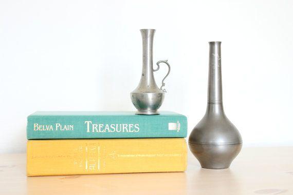 Vintage Pewter Vase Set  Modern Wedding centerpiece decor idea shabby chic nursery flower planter rustic country farmhouse by DelightfullyDutch, $24.50