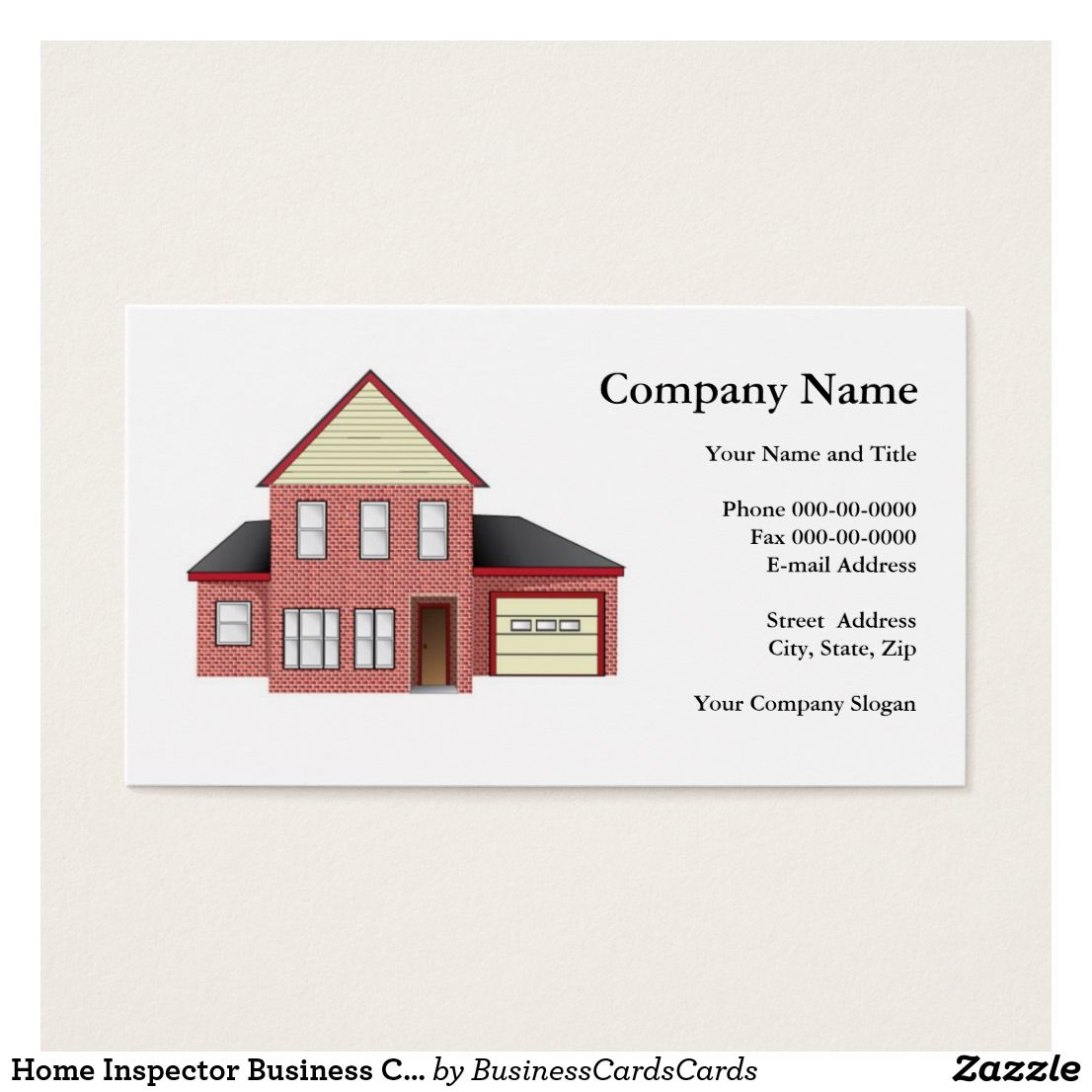 Home inspector business card home inspector