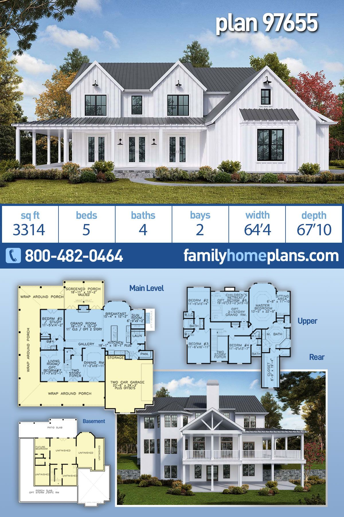 Southern Style House Plan 97655 With 5 Bed 4 Bath 2 Car Garage In 2020 Ranch Style House Plans Farmhouse Plans Ranch House Plans