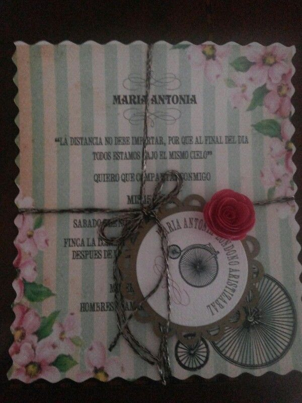 Tarjeta vintage 15 a os tarjetas y sobres con troqueles for Tarjetas de 15 anos vintage