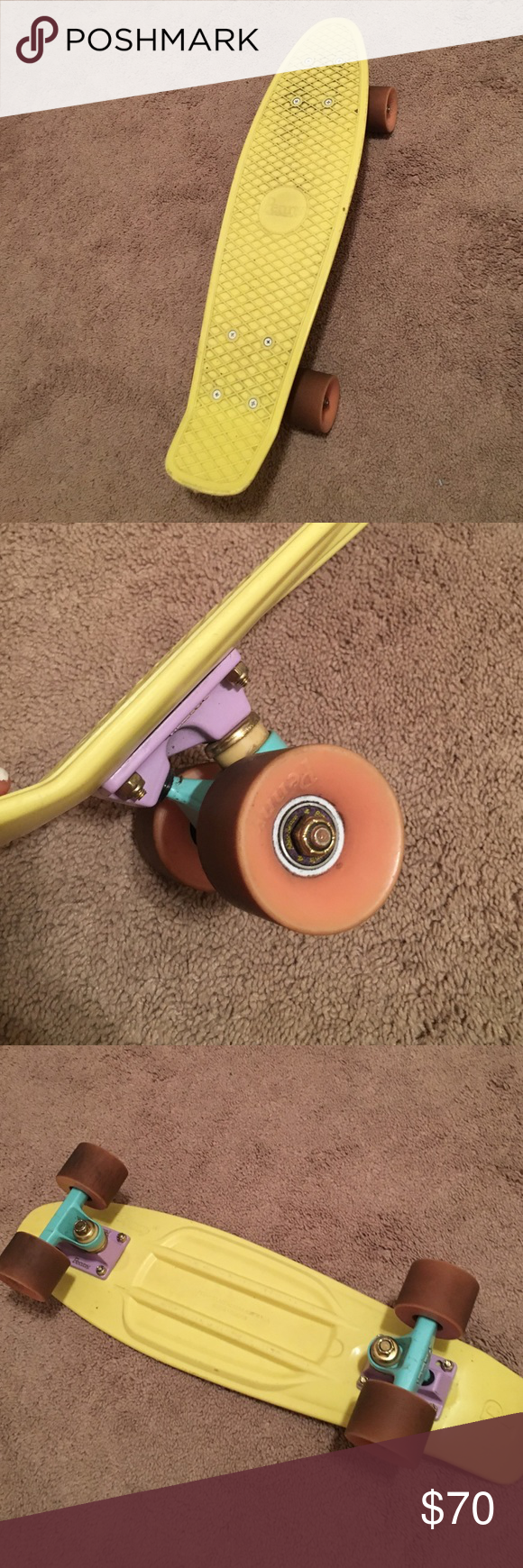 Pastel Penny Board Original 22 Yellow Board Lavender Blue And Yellow Accents Pink Wheels 22 Not Sold On Penny Skateboard Pastel Penny Board Pink Wheels
