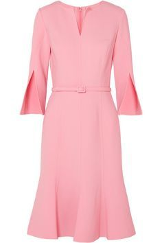 Baby pink Belted wool-blend dress | Oscar de la Renta