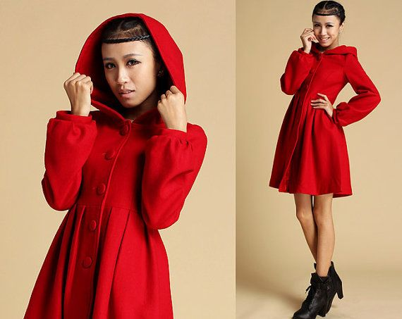 Red Wool Coat, Short jacket, dress coat, Winter coat, winter ...