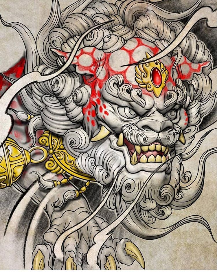 Dogs Art Irezumi Culture Tattoo On Instagram Awesome Foo Dog Art Design Done Kenny3dtattoo Irezum In 2020 Foo Dog Tattoo Japanese Tattoo Art Foo Dog Tattoo Design