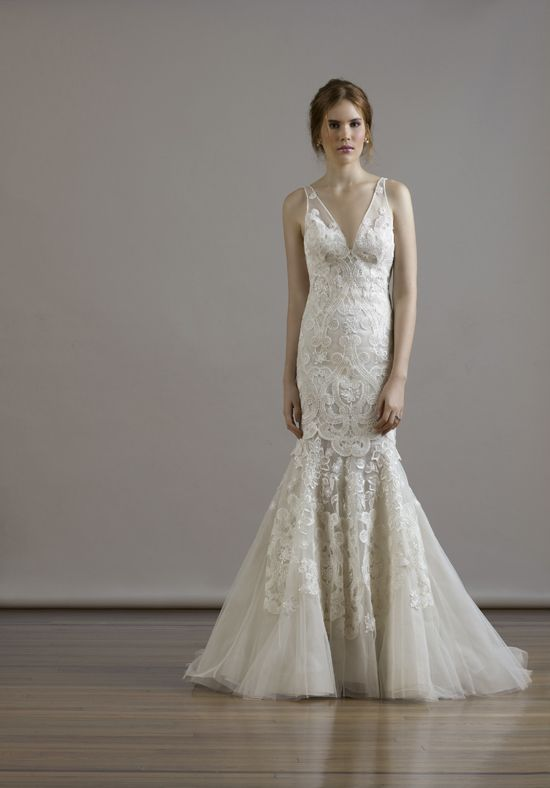 Macrame Embroidery On French Tulle V Neck Sheath Gown W Illusion Back