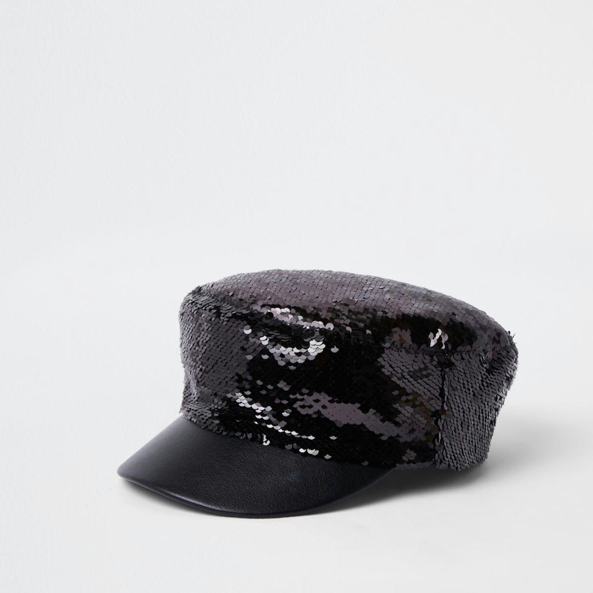 Black sequin baker boy hat  04e34ad0826