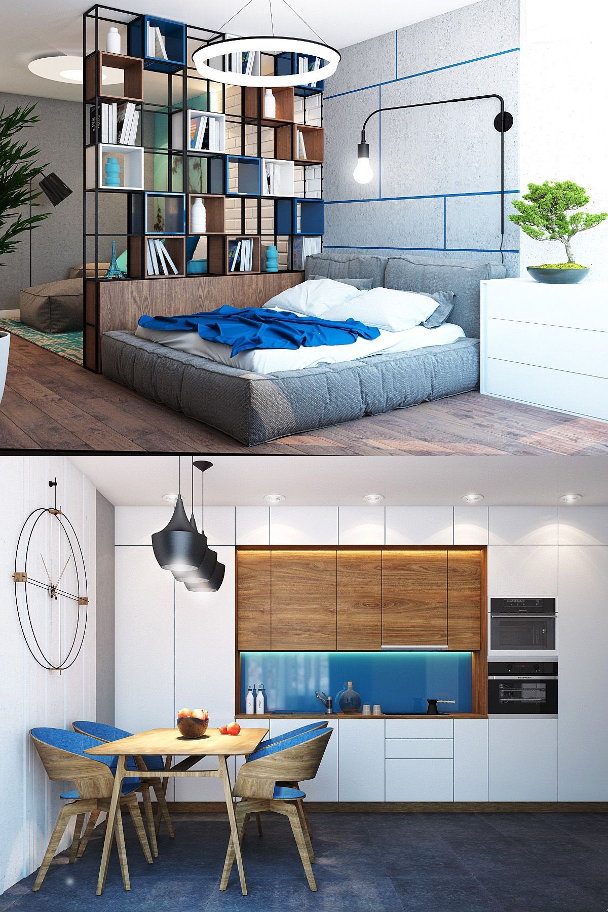 Homedesigning: (via 4 Charming Blue Accent Apartments With Compact Layouts)  Http:/